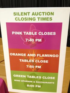 Silent auction tip: staggered table closing. This idea makes it very clear when each silent auction ends and you aren't relying solely on the auctioneer announcements to remind everyone to get their bids in on time.