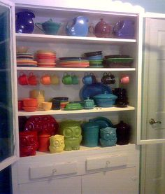 Fiesta dishes and owl jars