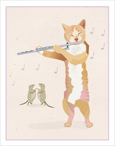 Flute playing Cat