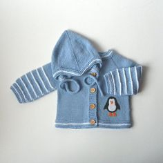Baby set knitted baby set knit baby costume blue set by Tuttolv