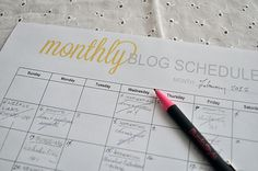 monthly blog schedule... good for planning purposes.