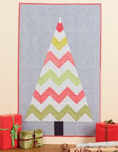 "Zig Zag tree quilted wall hanging, in: ""Celebrate Christmas with That Patchwork Place""