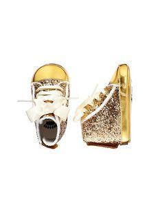 Damn it!  Why am I having a boy.... Gold Glittered Sneaker