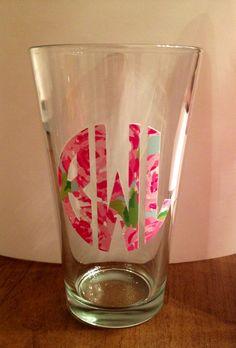 Lilly Pulitzer Monogram Glass Tumbler!