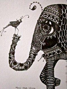 Illustration elephant and bird Art Prints by Mary Vogel Lozinak      srajd zentangle zen tangle 10x14 tateam EUC team