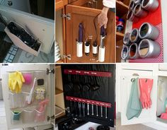 Clever cabinet door storage.  Love the measuring cups and spoons