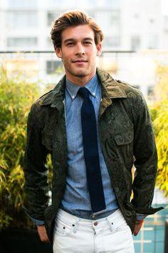 paisley jacket & denim shirt -- great combo. #menswear #denim #paisley