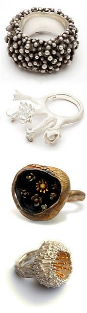 I never wear rings, but I would definitely wear these. Stunning jewelry by Nora Rochel.