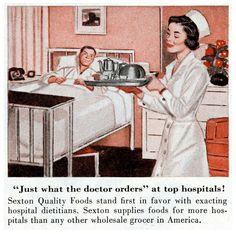 vintage hospital nurse food 1950s