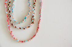 fabric scrap necklaces.