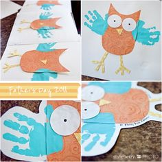 Owl w handprints fathers day crafts, owl art, father day, grandparents day crafts, owl crafts, hand prints, mothers day cards, fathers day cards, kid