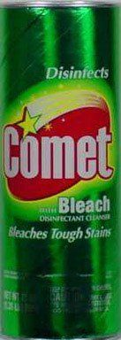 Spic and Span 84919490 Comet Cleanser by Comet. $4.86. Bleaches Tough StainsDisinfects While You Clean!  Kitchen Surfaces Bathroom Surfaces Package contains at least 75% recycled material (minimum 50% post-consumer)The surfactants in Comet are biodegradableContains No Phosphate Made in U.S.A. by Procter & Gamble