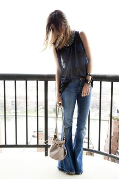 flare jeans | cute top