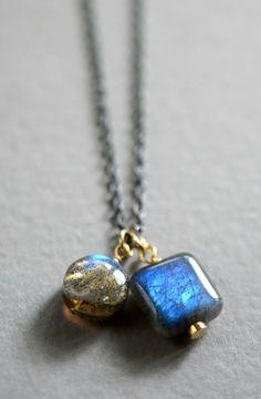 Aqua-flashing labradorite mixed metal necklace. By Kahili Creations of Hawaii.