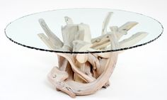 Contemporary Rustic Furniture - The Organic Furniture Collection - Coffee Table - Design #2 - Shown with White Wash Finish & Barked Edge Glass - Item #CT03104 - Custom Sizes - Smooth Glass Edge Option - Also Available Rectangular, Oval & Square