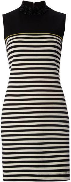 BIBA ENGLAND   Ponti Stripe Beaded Neck Sleeveless Dress