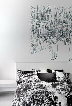Hetkia Wall Mural Black/Grey/White