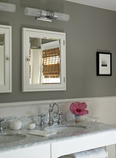 Suzie: Bella Mancini Design - Gorgeous chic gray bathroom design with gray walls paint color, ...