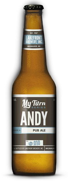 Lakefront Brewery, My Turn Series: Andy. British-style pub ale with spicy, earthy, and herbal East Kent Golding hop flavors.