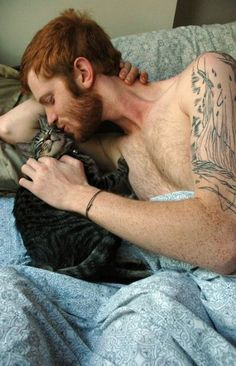 me-ow dream man, red hair, beard, redhead, gingers, tattoo, ginger cats, kitty, cat lovers