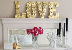 giant gold sequin love sign.