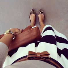 striped skirt, leopard flats + cognac colored accessories