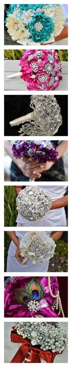 Bouquets Blue Petyl :)  #wedding #bouquet #brooch #jeweledflower