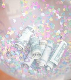 confetti balloon with money... cute birthday gift♥
