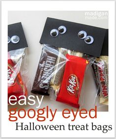A simple, googly-eyed craft for Halloween treats - directions at madiganmade.com