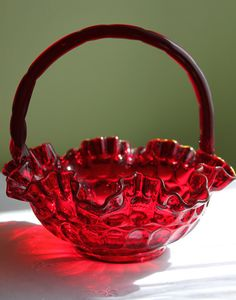 Fenton Crystal Ruby Red Basket.  Dark Red by AnythingDiscovered, $48.00