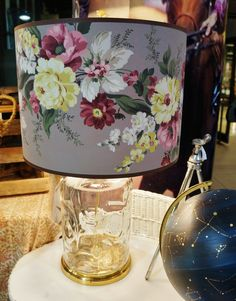 old wallpaper lamp shade in our Light Reading booth at Junk Bonanza