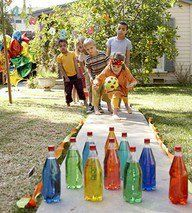 Fun for kids: fill plastic bottles with colored water for lawn bowling! Drop in a glow stick for 'night' lawn bowling!