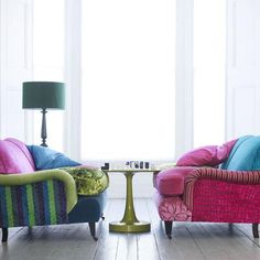 Living Etc - living rooms - striped sofa, green sofa, green striped sofa, eclectic sofas, jewel tone sofas, pink velvet sofa,  These make me...