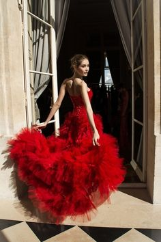 Ruffled red dress