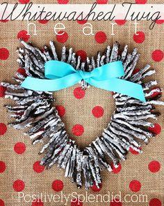 Whitewashed Twig Heart Valentine Wreath