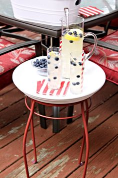 Create this easy outdoor entertaining table. The base is a steel PLANT STAND and the top (serving tray) is a terra cotta saucer. You can paint the saucer whatever color matches your decor or your mood.