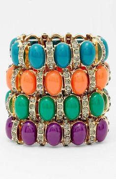 Stack 'em! Oval Stone & Crystal Stretch Bracelets
