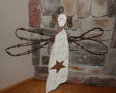 Primitive White Hand Made Wooden Barbed Wire Grubby Distressed Angel