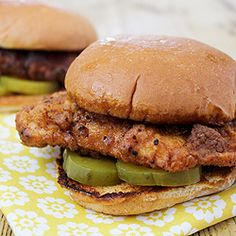 Chick-fil-A, our recipe copies the original chicken sandwich exactly, right down to the sour pickles.