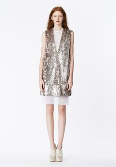 LOOK 20 Ice pink fringe sequin V-neck tunic layered over white stretch net t-shirt dress