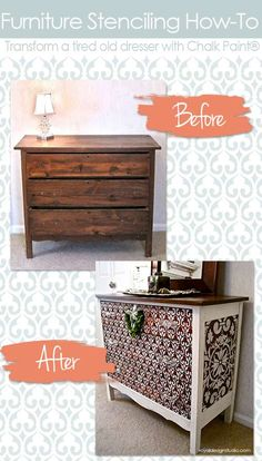 How to stencil furniture with Chalk Paint® decorative paint by Annie Sloan and Royal Design Studio stencils | Stencil Ideas Blog