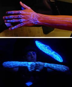Fluorescent tattoo ink, sometimes referred to as UV ink or black light ink, is a cool type of tattoo that glows under black light (it does not glow in the dark). If the entire tattoo is made with fluorescent ink, it can be only seen in the dark. Sometimes this type of ink is used in only small parts of a large tattoo just to give it some sparkle.
