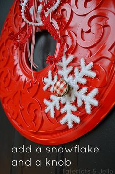 paint a ceiling medallion for a #Christmas wreath! add a knob, snowflake and ribbon! so cute! via @Jennifer Milsaps L Hadfield