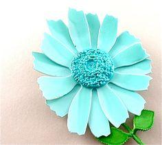 Blue Vintage Flower Brooch