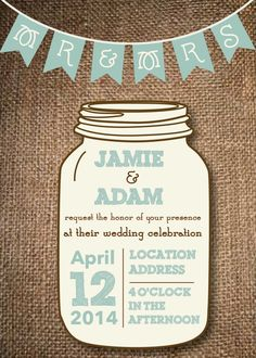 Mason Jar Wedding Invitations- DIY Rustic Wedding via Etsy.