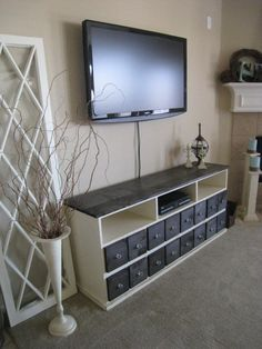 Want to make this console! Looks easy and could use a cheap dresser/entertainment center cast off!