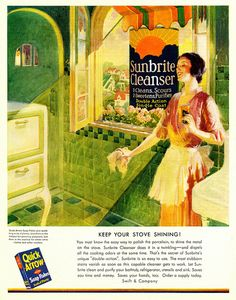 "You can practically hear the heavenly chorus of ""aaaahhhhhh"" sounds as you look at this beautiful sunshine filled 1930s ad. #vintage #ad #1930s #cleaning #homemaker"