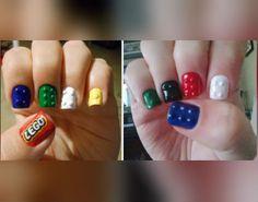 lego nail, nail designs, manicur, nail art designs lego