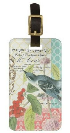 Modern Vintage French Bird luggage tag