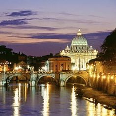Rome, Italy with St. Peter's Cathedral and Ponte Sant'Angelo